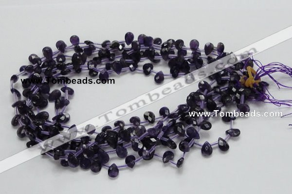 CNA38 15.5 inches 7*10mm faceted briolette grade A natural amethyst beads