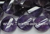 CNA45 15.5 inches 20mm twisted faceted coin grade A natural amethyst beads