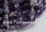 CNA47 15.5 inches 8*20mm faceted teadrop grade AB natural amethyst beads