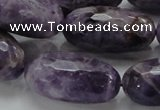 CNA55 15.5 inches 15*30mm faceted rice grade AB natural amethyst beads