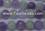 CNA663 15 inches 10mm faceted round lavender amethyst & prehnite beads