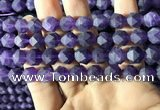 CNA768 15.5 inches 10mm faceted nuggets matte amethyst beads