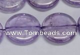 CNA826 15.5 inches 25mm flat round natural light amethyst beads