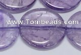 CNA828 15.5 inches 35mm flat round natural light amethyst beads