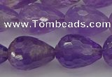 CNA922 15.5 inches 15*20mm faceted teardrop natural amethyst beads