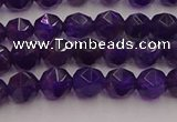 CNA936 15.5 inches 6mm faceted nuggets amethyst gemstone beads