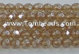CNC516 15.5 inches 4mm faceted round dyed natural white crystal beads
