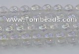 CNC560 15.5 inches 4mm round plated crackle white crystal beads