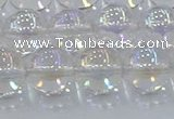 CNC573 15.5 inches 12mm round plated natural white crystal beads