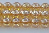 CNC576 15.5 inches 6mm round plated natural white crystal beads