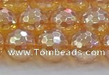 CNC618 15.5 inches 14mm faceted round plated natural white crystal beads