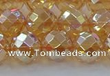 CNC623 15.5 inches 12mm faceted round plated natural white crystal beads