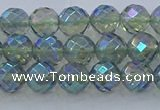 CNC627 15.5 inches 6mm faceted round plated natural white crystal beads
