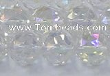 CNC649 15.5 inches 14mm faceted round plated natural white crystal beads