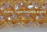 CNC655 15.5 inches 14mm faceted round plated natural white crystal beads