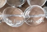 CNC747 15.5 inches 14mm faceted coin white crystal beads
