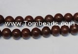 CNE08 15.5 inches 6mm round red stone needle beads wholesale
