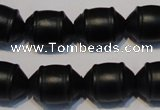CNE17 15.5 inches 12*16mm barrel black stone needle beads wholesale