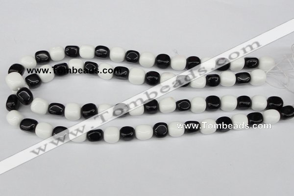 CNG02 15.5 inches 9*12mm nuggets black & white agate beads