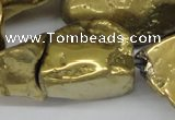 CNG1322 15.5 inches 15*30mm � 25*35mm nuggets plated quartz beads