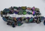 CNG1325 15.5 inches 15*20mm - 22*30mm nuggets plated quartz beads