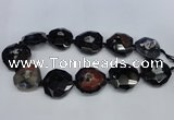 CNG1338 15.5 inches 32*35mm faceted freeform agate beads