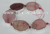 CNG1491 8 inches 30*35mm - 35*45mm freeform agate beads with brass setting