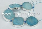 CNG1492 8 inches 30*35mm - 35*45mm freeform agate beads with brass setting