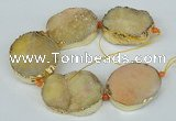 CNG1498 8 inches 30*35mm - 35*45mm freeform agate beads with brass setting