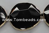 CNG1600 8 inches 38*45mm - 45*48mm freeform agate beads with brass setting