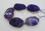 CNG1610 7.5 inches 40*55mm freeform agate beads with brass setting