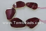 CNG1621 8 inches 35*50mm - 45*55mm freeform agate beads with brass setting