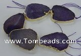 CNG1622 8 inches 35*50mm - 45*55mm freeform agate beads with brass setting