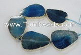 CNG1623 8 inches 35*50mm - 45*55mm freeform agate beads with brass setting