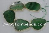 CNG1624 8 inches 35*50mm - 45*55mm freeform agate beads with brass setting