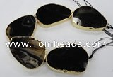 CNG1625 8 inches 40*50mm - 50*60mm freeform agate beads with brass setting