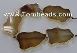 CNG1650 8 inches 35*50mm - 45*65mm freeform agate beads with brass setting