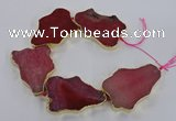 CNG1651 8 inches 35*50mm - 45*65mm freeform agate beads with brass setting