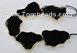 CNG1653 8 inches 35*50mm - 45*65mm freeform agate beads with brass setting