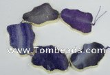 CNG1688 8 inches 35*50mm - 45*65mm freeform agate beads with brass setting