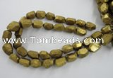 CNG1801 13*18mm - 15*20mm faceted nuggets plated quartz beads