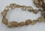 CNG1805 15.5 inches 15*20mm - 20*25mm nuggets plated rose quartz beads