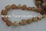CNG1807 15.5 inches 15*20mm - 20*25mm nuggets plated rose quartz beads