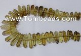 CNG2153 15.5 inches 8*25mm - 10*40mm faceted nuggets lemon quartz beads