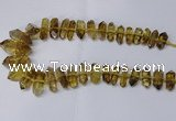 CNG2154 15.5 inches 10*25mm - 15*40mm faceted nuggets lemon quartz beads