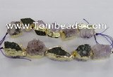 CNG2156 7.5 inches 18*25mm - 22*30mm nuggets druzy amethyst beads