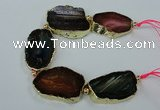 CNG2175 8 inches 30*40mm - 35*45mm freeform agate beads with brass setting