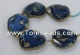 CNG2182 8 inches 40*45mm - 45*50mm freeform agate beads with brass setting