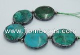 CNG2197 7.5 inches 35mm flat round agate beads with brass setting