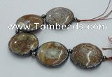 CNG2304 7.5 inches 35mm flat round agate beads with brass setting